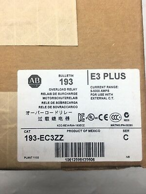 New Sealed 193-Ec3Zz Allen Bradley E3 Plus Overload Relay Solid State Devicenet