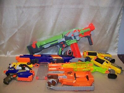 Mixed NERF Gun Miscellaneous Lot With 8 Small And Large Soft Dart Guns