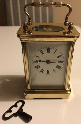 French Brass Carriage Clock Working With Key A.C.C.L