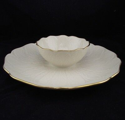 Lenox Chip Dip Plate With Attached Dip Holder W Leaf Pattern