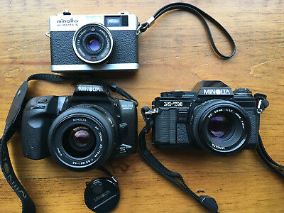 Minolta camera lot with extras (Hi-Matic G, Maxxum 400si, X-7A)