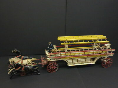 "All Original Cast Iron 29"" Fire Ladder Wwagon With 3 Horses Hubley Dent"