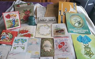 Vintage Cards, Papers, Postcards & More Junk Drawer Lot, Used As Is!
