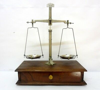 Antique Vintage Scale With Weights Wooden Base Drawer Exquisite & Working See