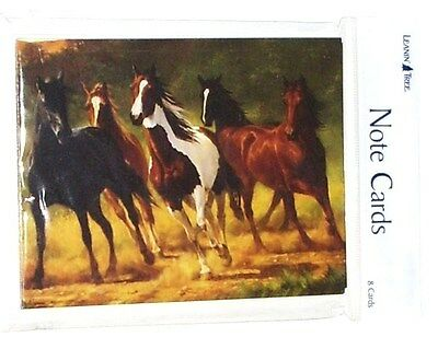 8 Leanin Tree Note Cards 5 Horses Running Down a Country Road, Chris Cummings