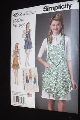 Simplicity 8232 Pattern  3 Aprons 1940's Vintage  Sizes 10-20