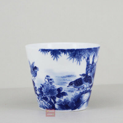 Hand painted bird flower China Jingdezhen Blue and White Porcelain tea cup 120cc