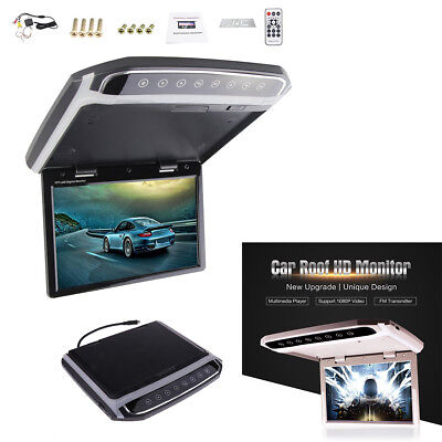 """10.2"""" 1080P HD Foldable Roof Mount Car LCD Color Monitor Video Player FM HDMI SD"""