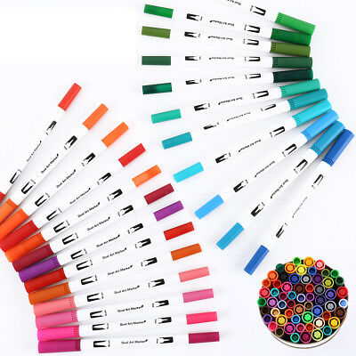 60 Colors Dual Tip Brush Markers Pens Set, Point Drawing Markers, Brush Colorful