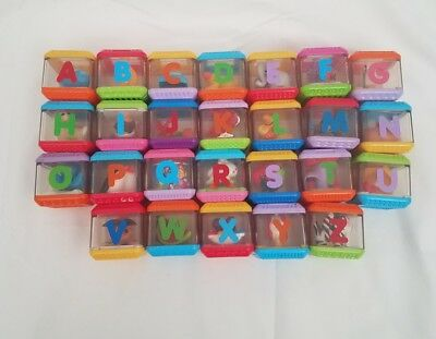 Fisher Price Peek A Boo Square Blocks 26 Alphabet Letters Set Complete ABC A-Z