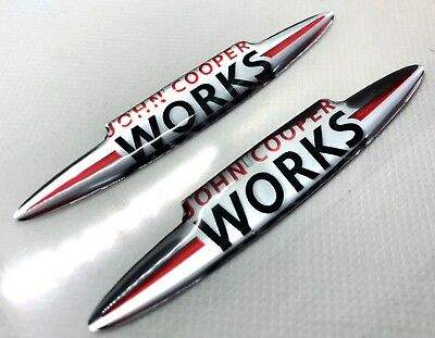 2x John Cooper Works Logo 3D Domed Stickers. Size 90x16mm.