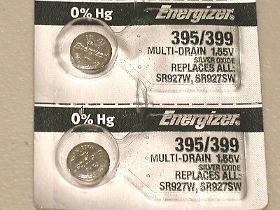 2 pc genuine Energizer 395/399 SR927SW AG7 SILVER OXIDE WATCH BATTERY USA MADE