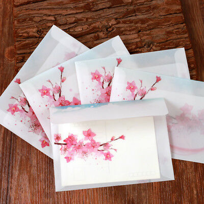 5pcs Vintage Peach Blossom Paper Transparent Envelope Greeting Card Cover