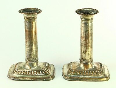 ! c.1780's Antique SHEFFIELD PLATE Silver on Copper Pair Column Candle Holders