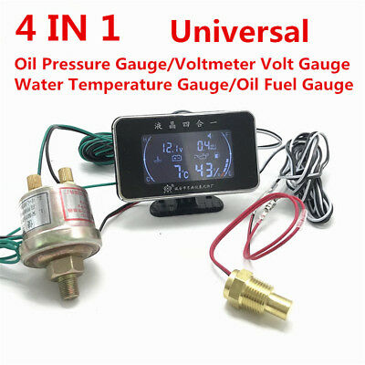 4 IN 1 Oil Pressure Gauge+Voltmeter+Water Temperature Gauge Meter+Oil Fuel Gauge