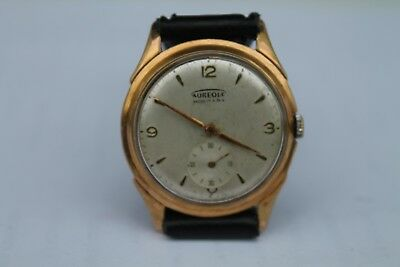Antique Vintage Old Swiss Made AUREOLE 17Jewels Gold Plated Mens Wrist Watch.