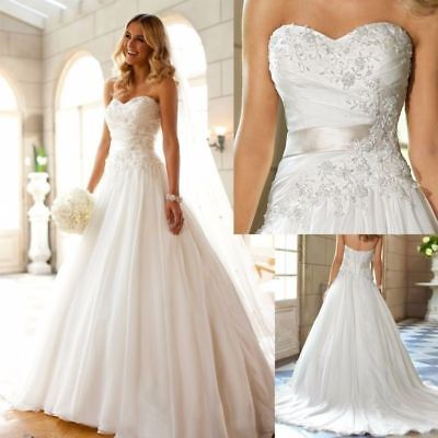 New A-Line sleeveless Lace-up Strapless Wedding Dress Custom Stock Size 6--20+