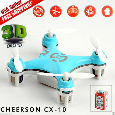 New Blue Cheerson CX-10 2.4Ghz 4CH 6-Axis GYRO Mini Nano RC Quadcopter UFO Drone