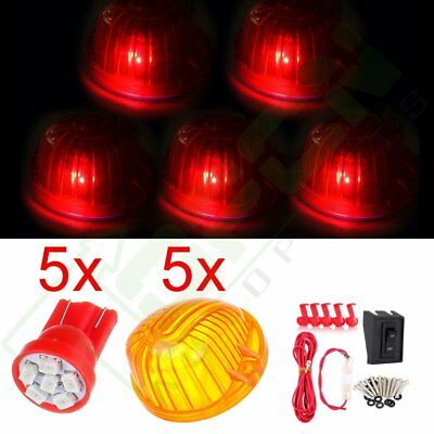 5PCS Amber Lens 6SMD Red LED Top Cab Marker Clearance Light For Chevy C/K Series