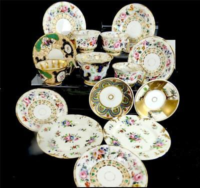 Grouping Antique French Old Paris Porcelain Cups Saucers Hand Painted Flowers
