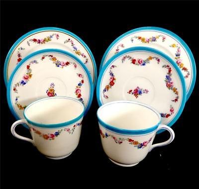 Pair Antique Minton Oversized Breakfast Cup & Saucer Trios Turquoise Border