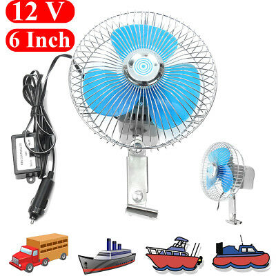 """6"""" 12V Electric Oscillating Auto Cooling Air Fan For Vehicle Truck Car Boat"""