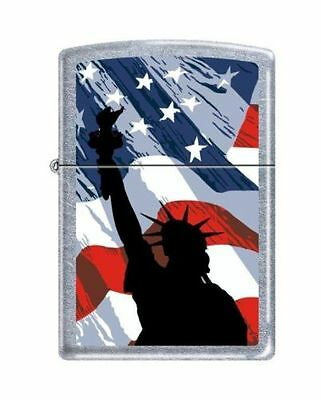 "Zippo ""Statue of Liberty-USA Flag"" Lighter, Street Chrome Finish, 2277"
