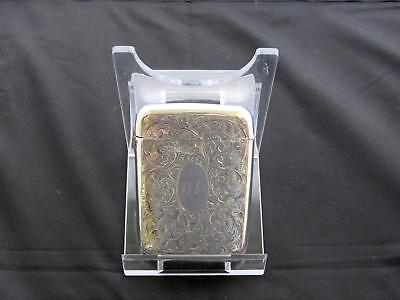 Antique Victorian Engraved Silver Card Case, Birmingham, S & I, Circa 1885-86