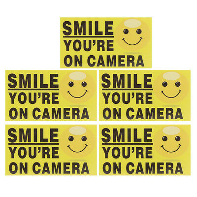 "5x ""Smile You're On Camera"" Self-adhesive Video Alarm Safety Warning Stickers SR"