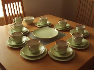 Vintage Elijah Lord Nelson Ware Green Tea Set For Eight ~ Cake Plate,jug &basin.