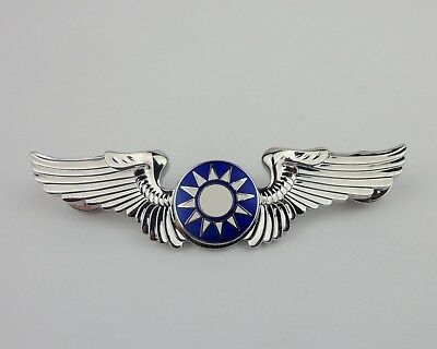 Chinese US Air Force Pilot A.V.G. Flying Tigers Wings Badge Pin Silvery Officer