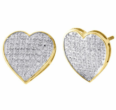 10K Yellow Gold Diamond Heart Studs Ladies 13.80mm Earrings Pave Set 1/4 Ct.