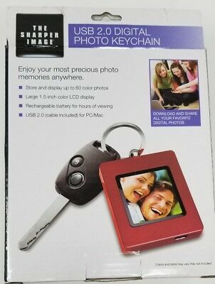 The Sharper Image USB 2.0 Digital Photo Keychain Red Color Holds 60 Images ~ NEW