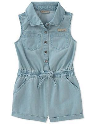 Calvin Klein Infant Girls Light Blue Wash Romper Size 12M 18M 24M $50