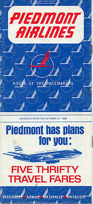 Piedmont Airlines October 27, 1968 System Timetable