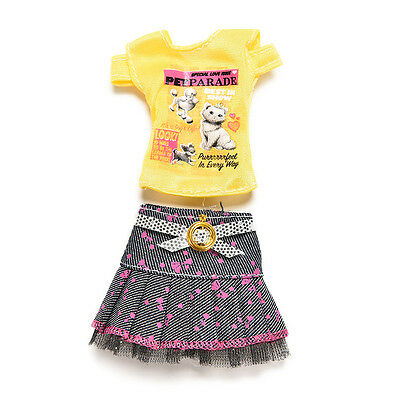 2 Pcs/set Fashion Clothes for Barbies Short Skirt T-shirt Doll Accessories WO