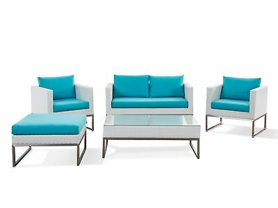 Modern 5 Piece Patio Conversation Set White Wicker Turquoise Cushions Crema