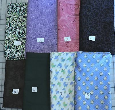 100% Cotton Fabric - One Yard Each - Various Colors and Prints and Makers