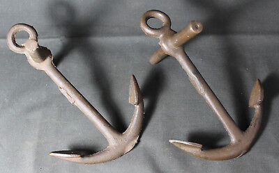 Antique Vintage Pair of Cast Bronze Nautical Small Ship Anchors