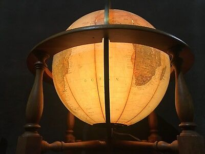 Vintage Replogle True To Life Light-up Globe W/ Wooden Stand MS40