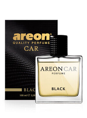 Areon Car Perfume 3.38 Fl Oz. (100ml) Glass Bottle Cologne Air Freshener, Black