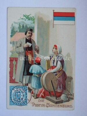 ANTICA FIGURINA antique lito POST POSTMAN postino MONTENEGRO