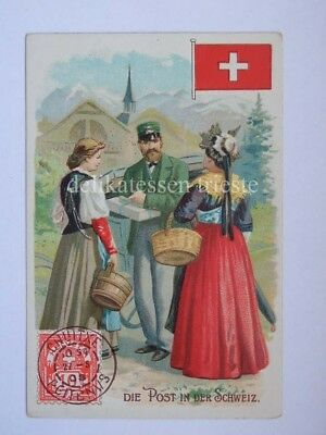 ANTICA FIGURINA antique lito POST POSTMAN postino SVIZZERA SCHWEIZ SWISS