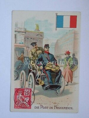 ANTICA FIGURINA antique lito POST POSTMAN postino FRANCIA FRANCE Frankereich