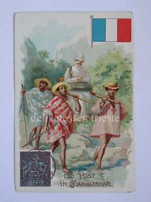 ANTICA FIGURINA antique lito POST POSTMAN postino MADAGASKAR MADAGASCAR