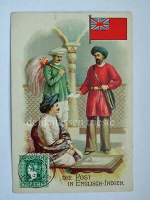 ANTICA FIGURINA antique lito POST POSTMAN postino ENGLISCH INDIEN INDIA BRITISH