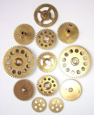 Lot 12 vintage clock large brass gears wheels 20-40 mm. Steampunk art parts #2