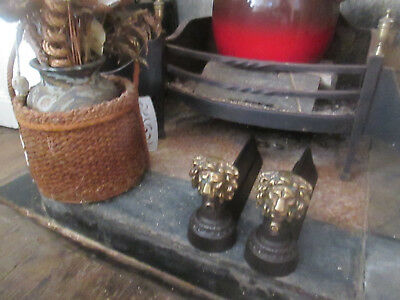 Pair Of Old French Fire Irons Brass Lion Heads Cleaned/blacked