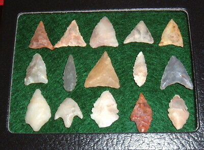(15) Assorted Mini Sahara Neolithic Points W/CASE Prehistoric African Arrowheads