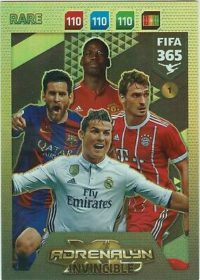 Panini FIFA 365 Adrenalyn XL 2018 Invincible Messi, Ronaldo, Pogba, RARE Nr. 1